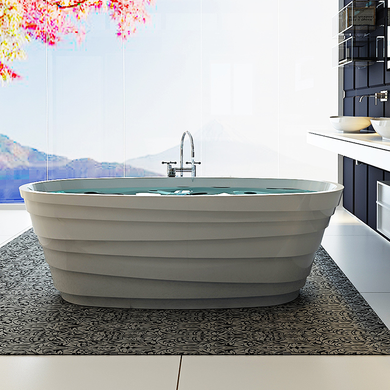 Solid surface resin stone bathtub BS-8631