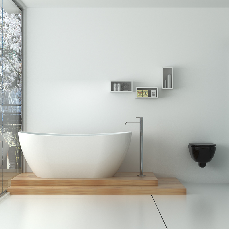 Solid surface resin stone bathtub BS-8633