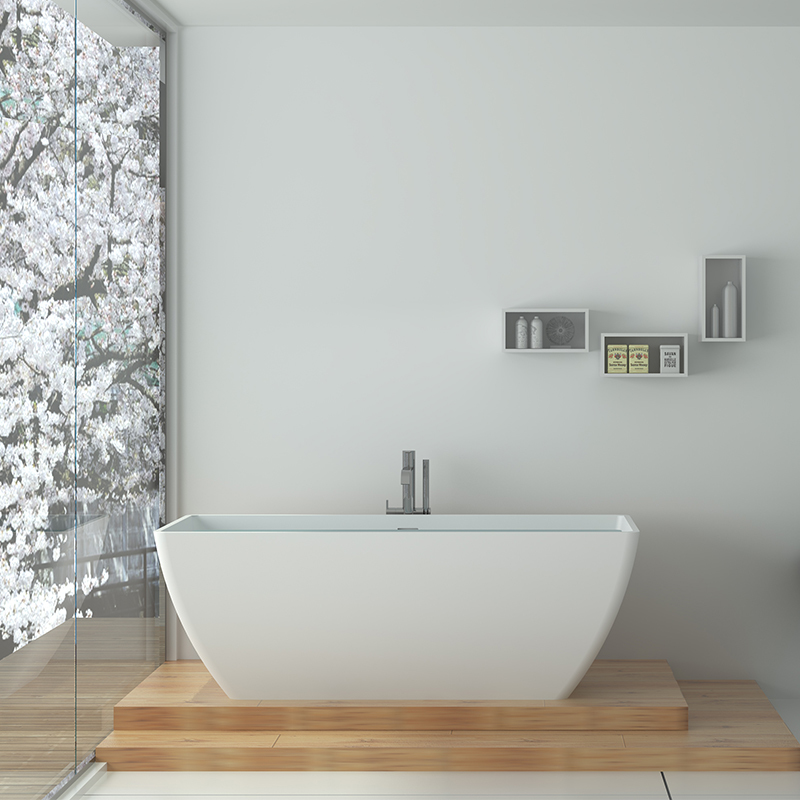 Solid surface resin stone bathtub BS-8641