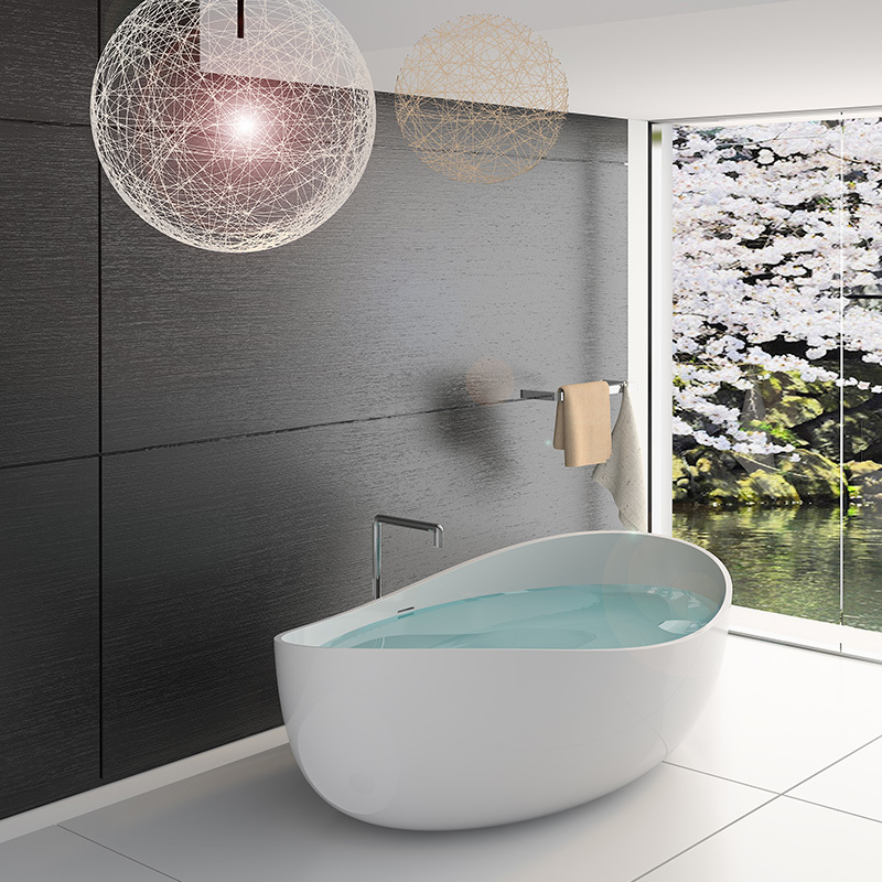 Solid surface resin stone bathtub BS-8644