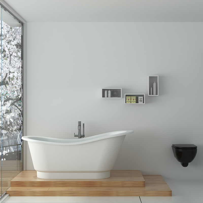 Solid surface resin stone bathtub BS-8645