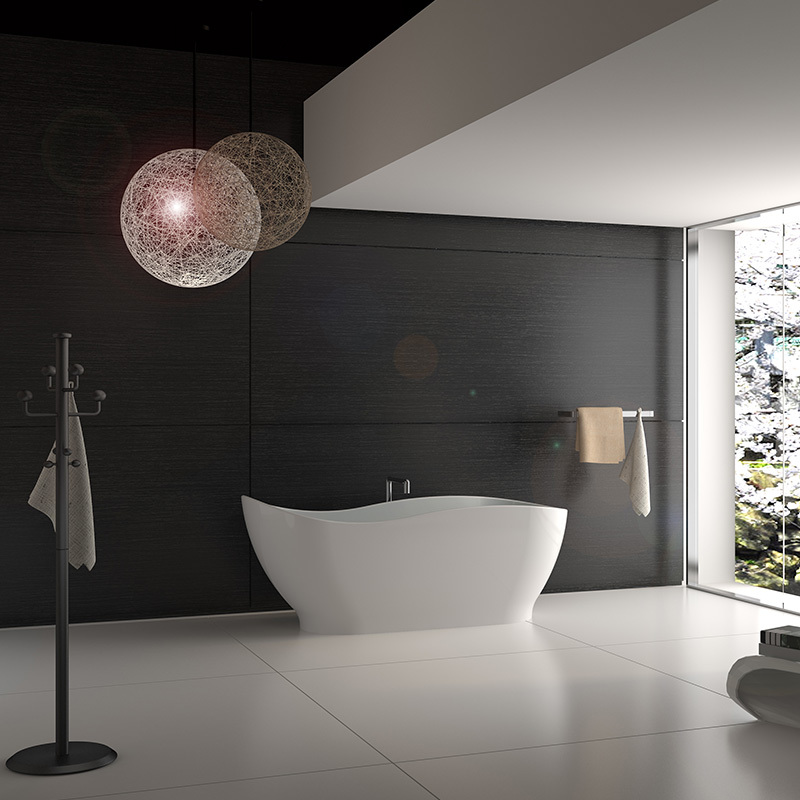 Solid surface resin stone bathtub BS-8646