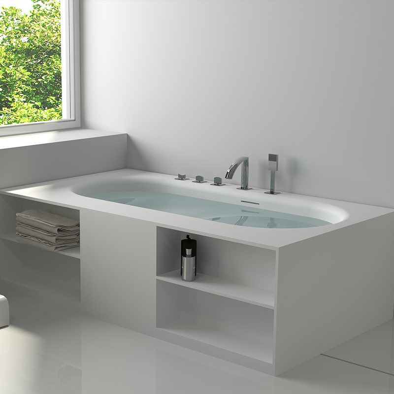 Solid surface resin stone bathtub BS-8650