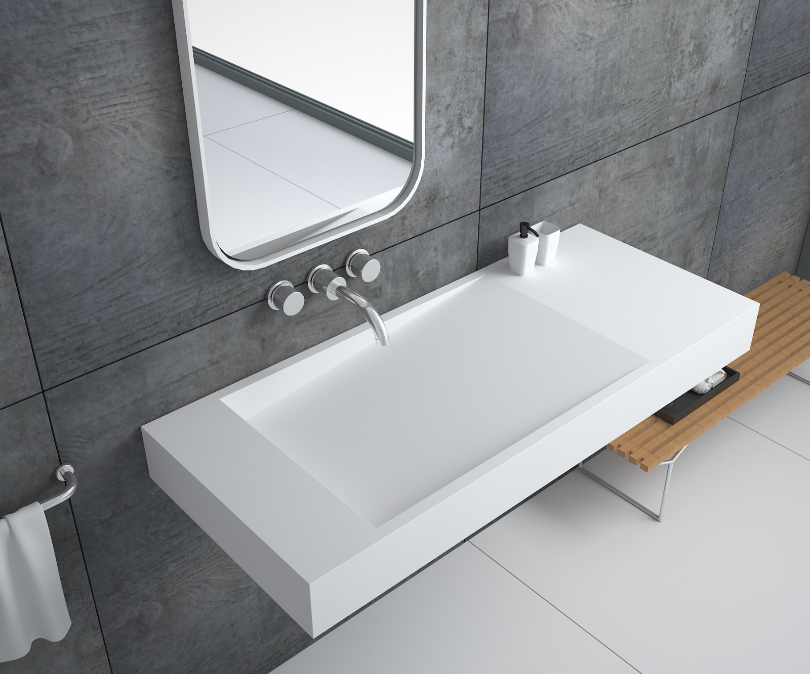 Bellissimo-Solid Surface Resin Stone Wall Mounted Basin Bs-8407 | Solid Surface Wall