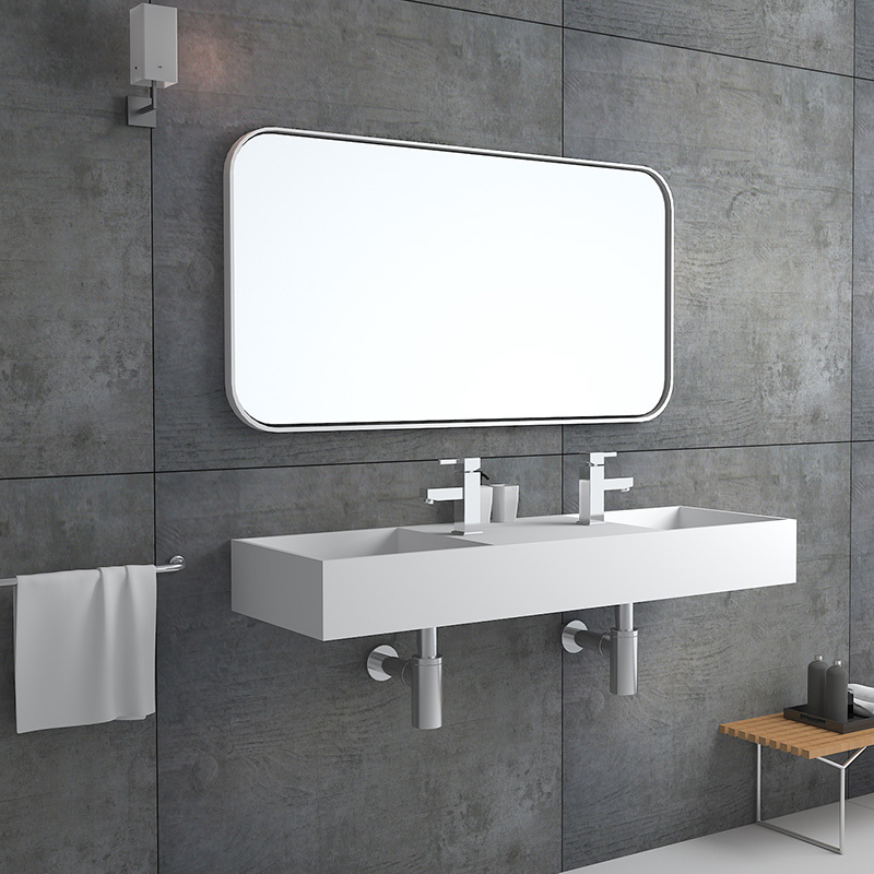 Solid surface resin stone wall mounted basin BS-8412