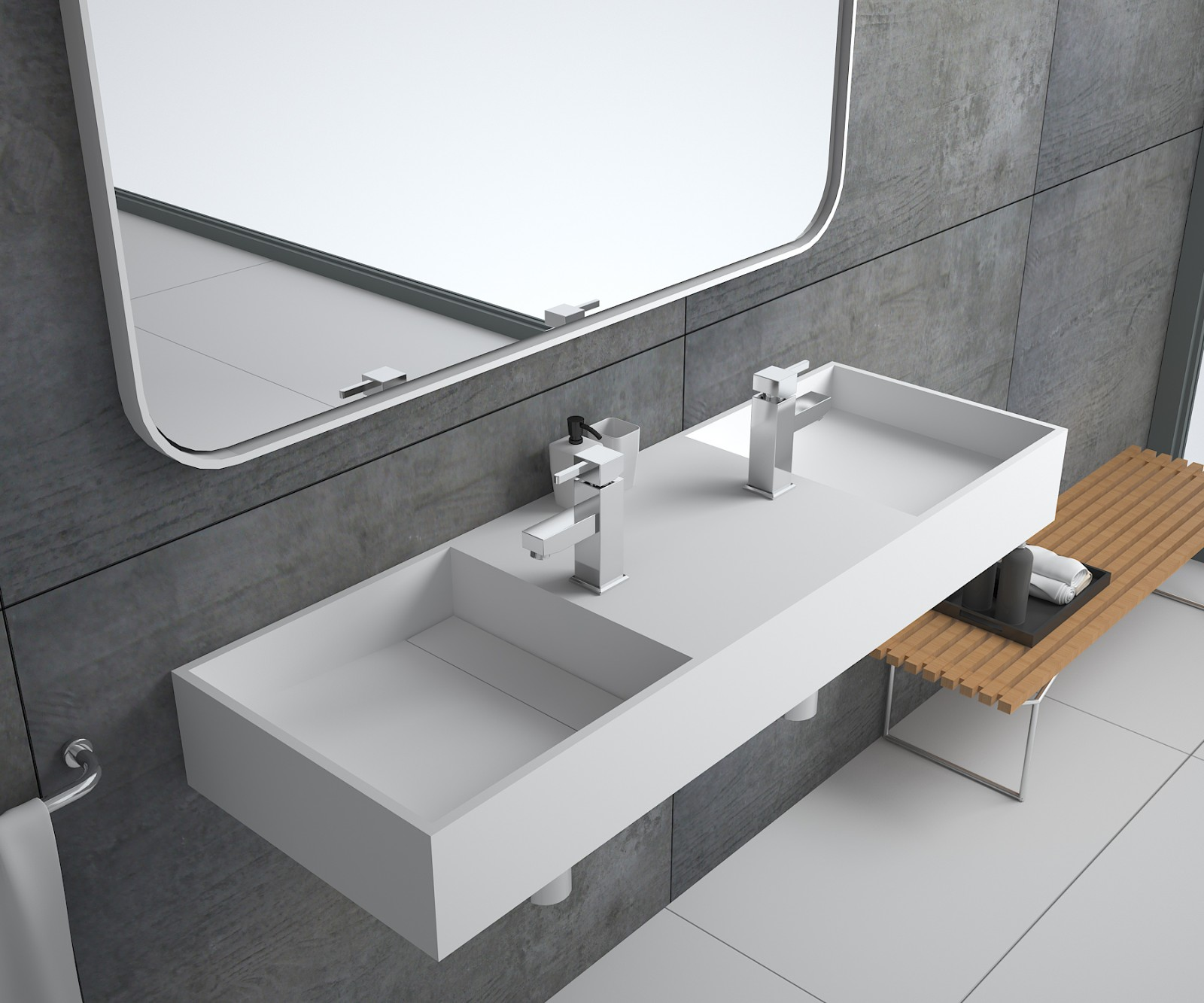 Bellissimo-Solid Surface Resin Stone Wall Mounted Basin Bs-8412 | Solid Surface Wall