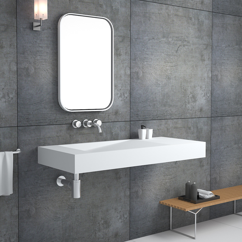 Solid surface resin stone wall mounted basin BS-8407