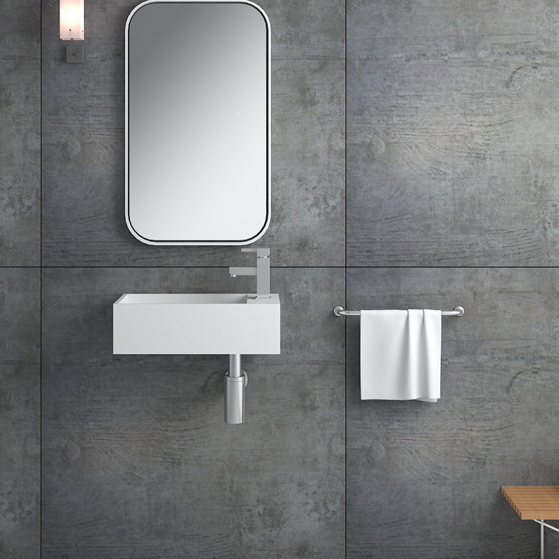 Solid surface resin stone wall mounted basin BS-8413