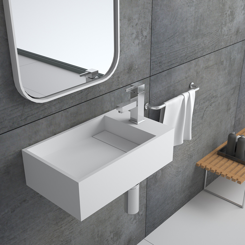 Bellissimo-Solid Surface Resin Stone Wall Mounted Basin Bs-8413