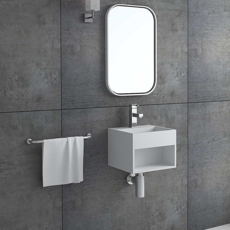 Solid surface resin stone wall mounted basin BS-8414