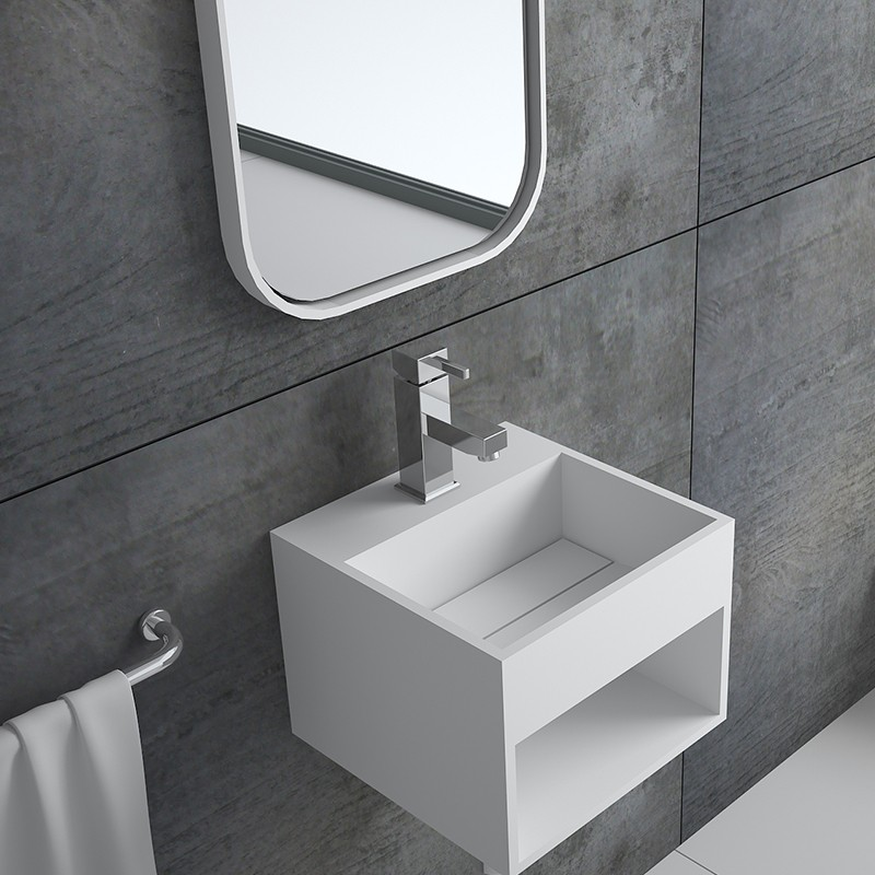 Bellissimo-Solid Surface Resin Stone Wall Mounted Basin Bs-8414