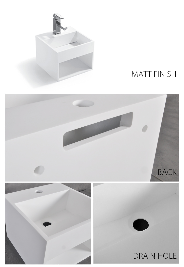 Bellissimo-Solid Surface Resin Stone Wall Mounted Basin Bs-8414-2