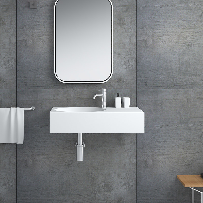 Solid surface resin stone wall mounted basin BS-8415