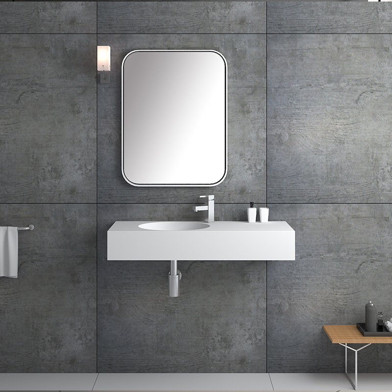 Solid surface resin stone wall mounted basin BS-8417