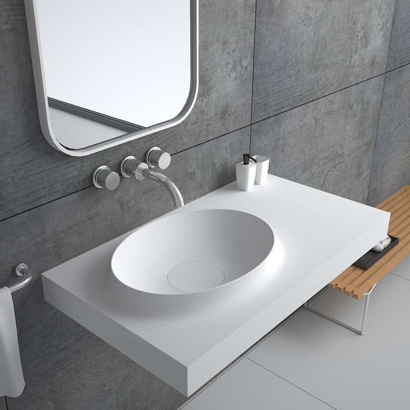 Bellissimo-Solid Surface Resin Stone Wall Mounted Basin Bs-8418 - Bellissimo