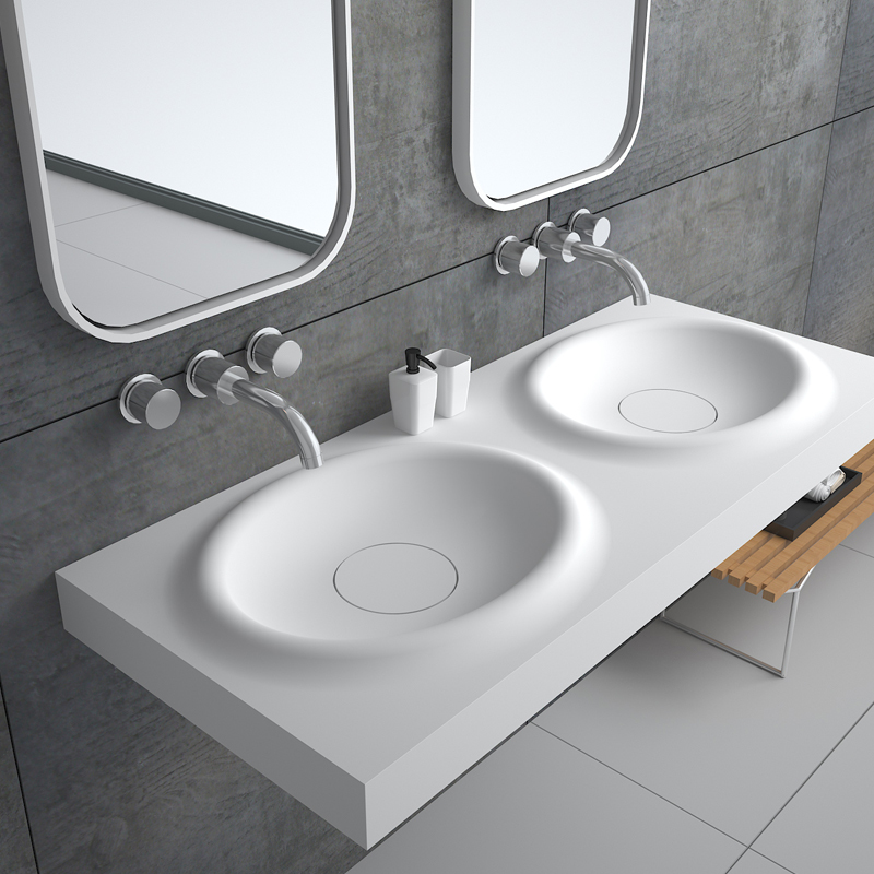 Solid surface resin stone wall mounted basin BS-8421