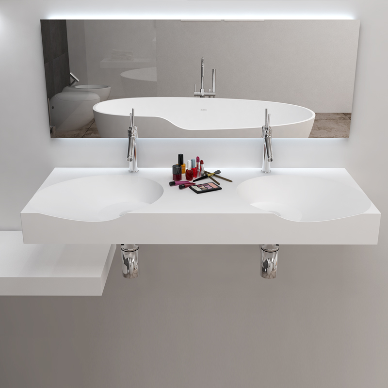 Solid surface resin stone wall mounted basin BS-8424D