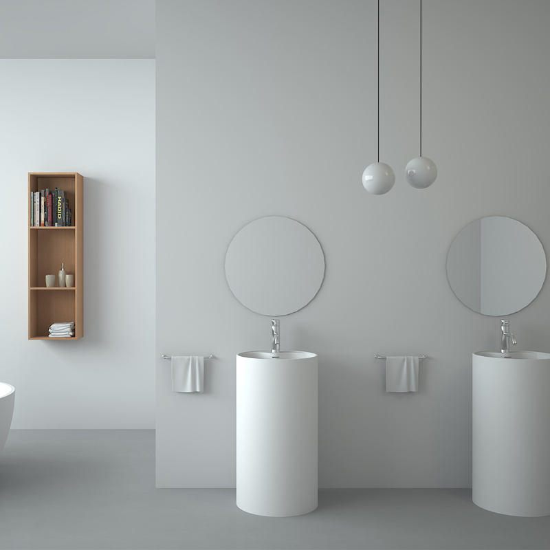 Solid surface resin stone freestanding basin BS-8505