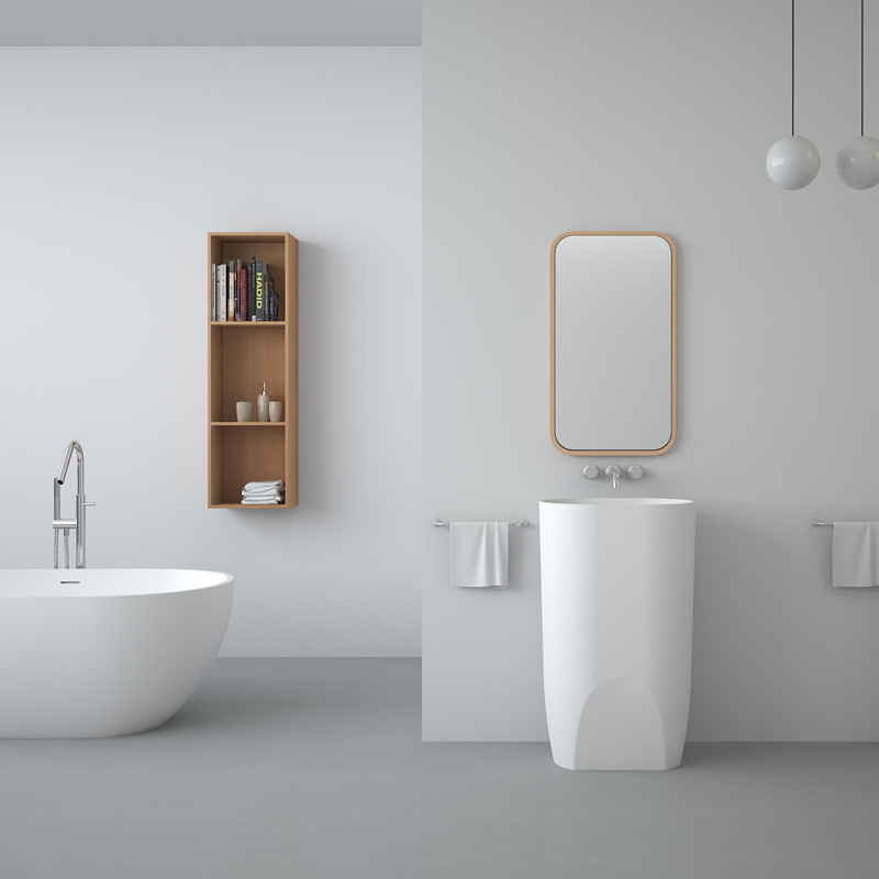 Solid surface resin stone freestanding basin BS-8506