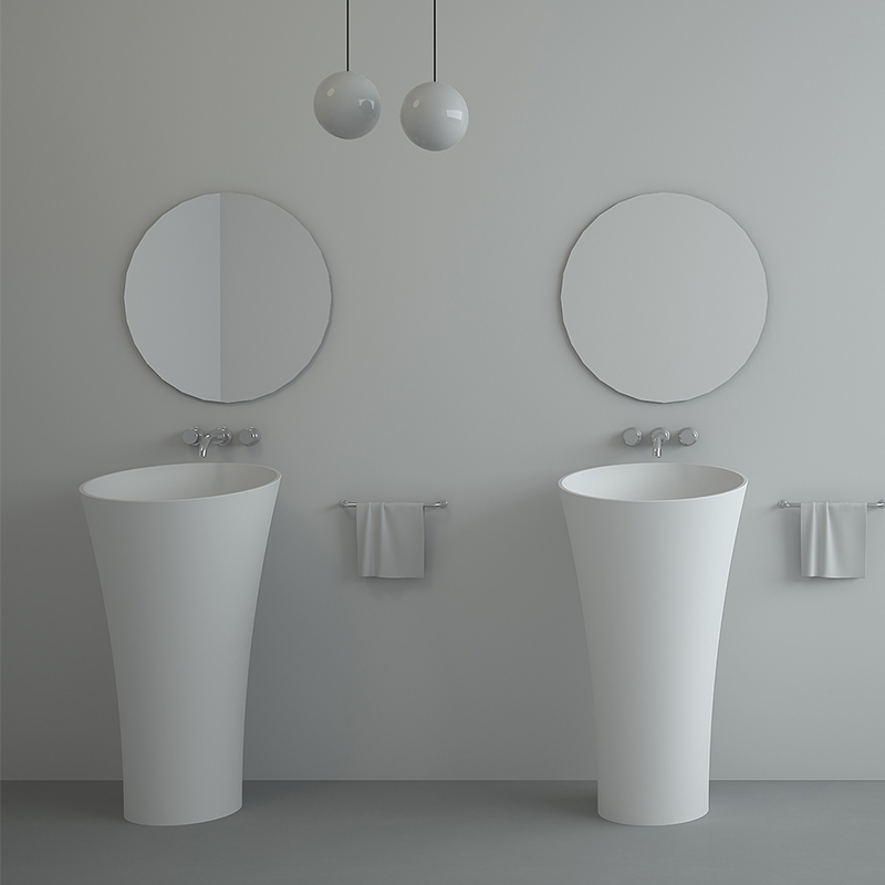 Oval design standalone Solid surface acrylic resin stone freestanding basin BS-8507
