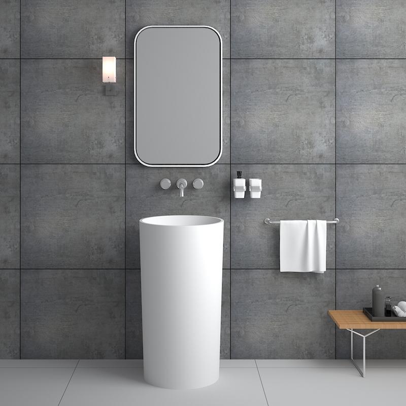 Round pedestal new design pedestal Solid surface resin stone freestanding basin BS-8508