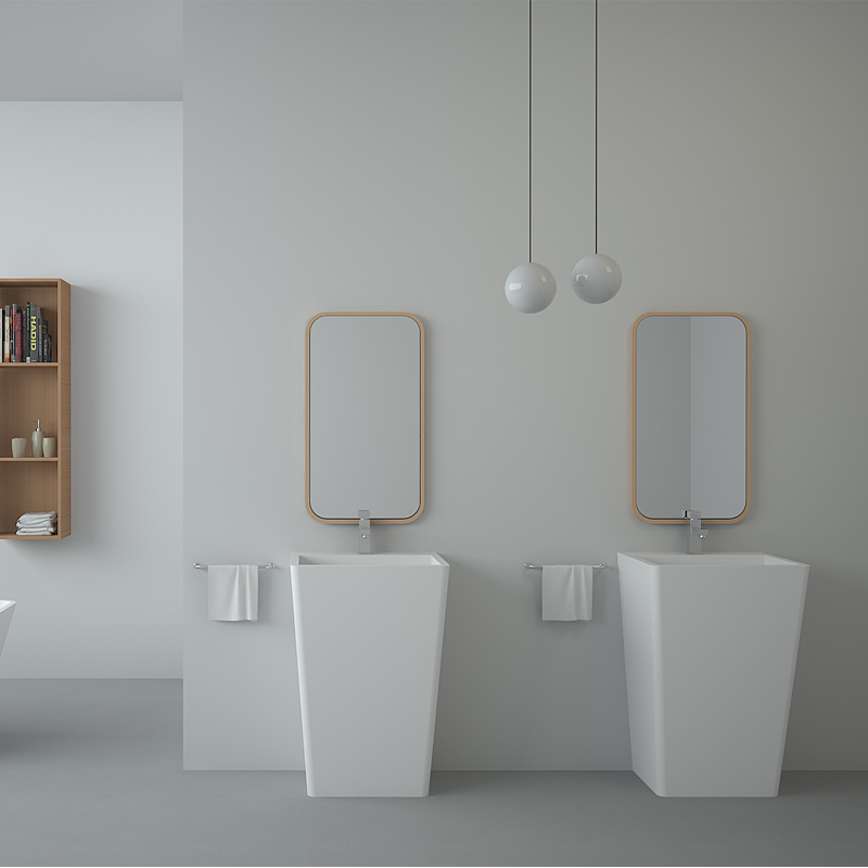 Solid surface resin stone freestanding basin BS-8509