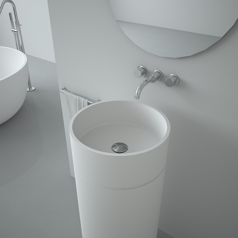 Solid surface resin stone freestanding basin BS-8510
