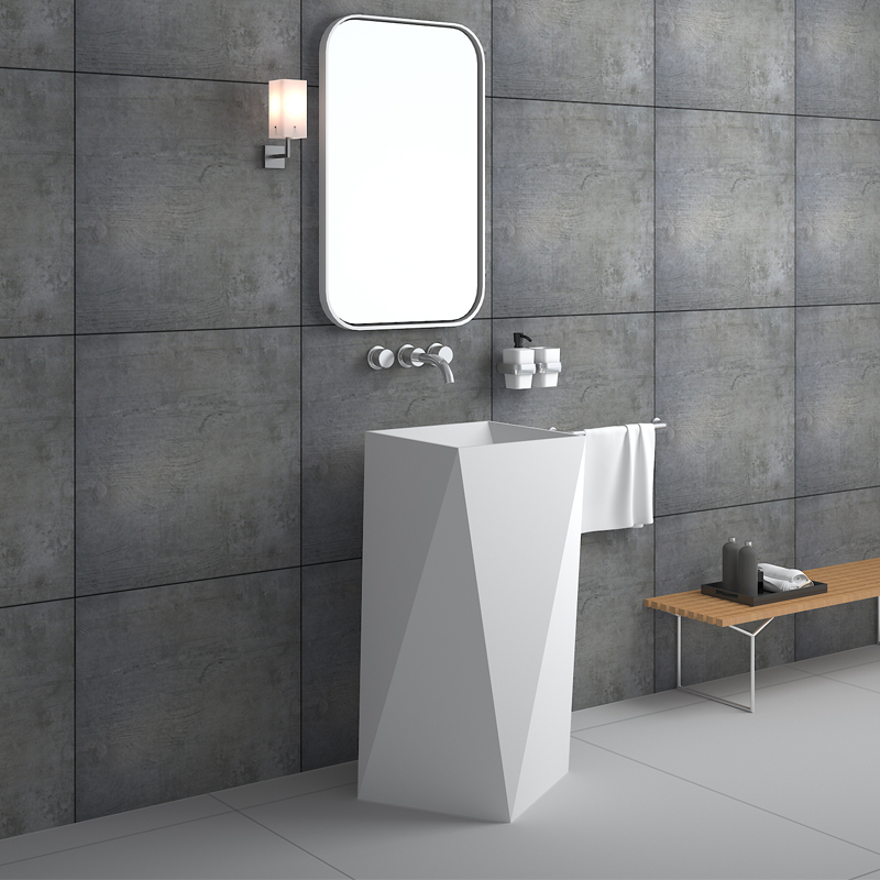 Solid surface resin stone freestanding basin BS-8511