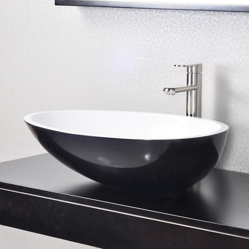 Egg shaped oval bathroom sink Solid surface resin stone counter top basin BS-8304