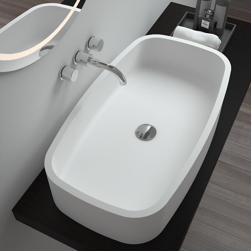 Rectangular shaped special corner design bathroom sink Solid surface counter top basin BS-8305