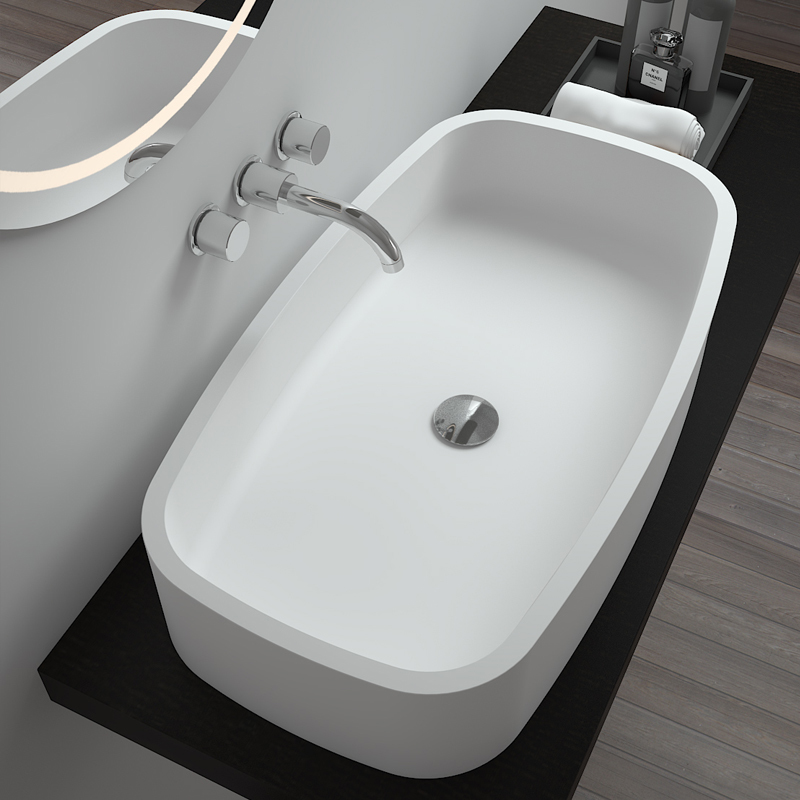 Rectangular shaped special corner design bathroom sink Solid surface counter top basin BS-8305