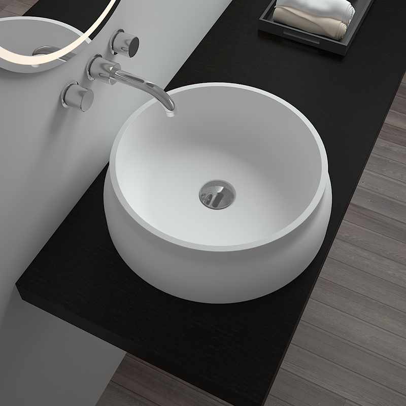 Round ceramics shaped bathroom sink Solid surface resin stone counter top basin BS-8311