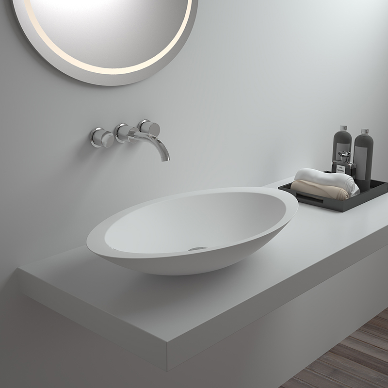 Solid surface resin stone counter top basin BS-8314