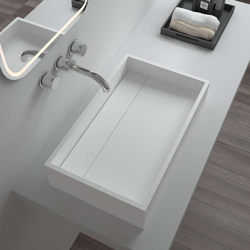 Solid surface resin stone counter top basin BS-8317