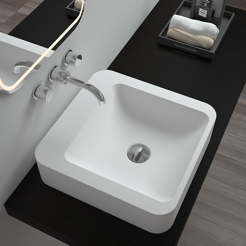 Bellissimo-Solid Surface Resin Stone Counter Top Basin Bs-8318 | Solid Surface