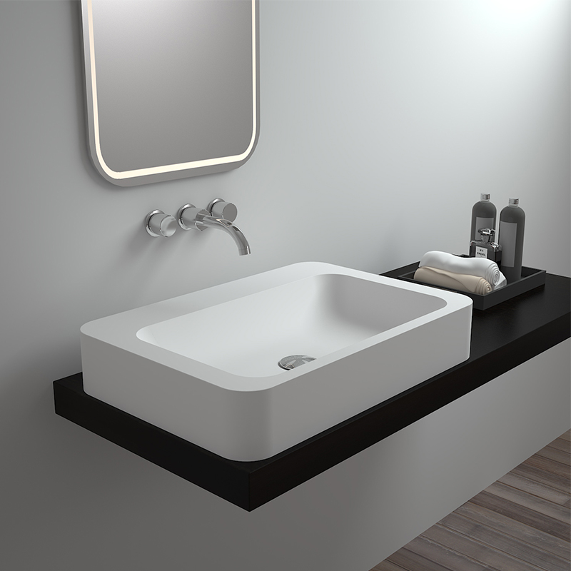 Solid surface resin stone counter top basin BS-8319