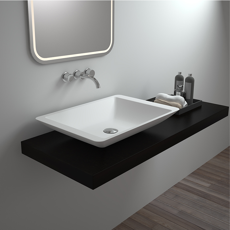 Solid surface resin stone counter top basin BS-8324