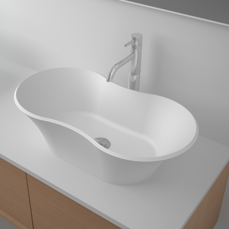 Solid surface resin stone counter top basin BS-8327