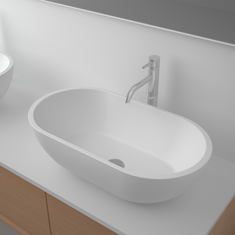 Solid surface resin stone counter top basin BS-8329