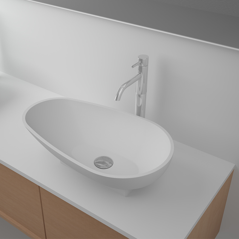 Solid surface resin stone counter top basin BS-8330