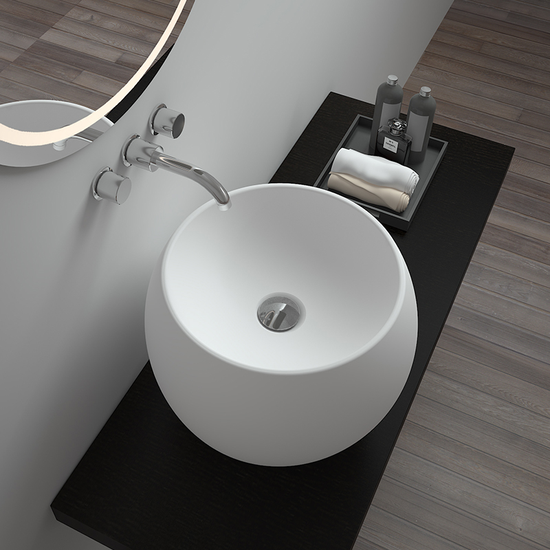 Solid surface resin stone counter top basin BS-8331