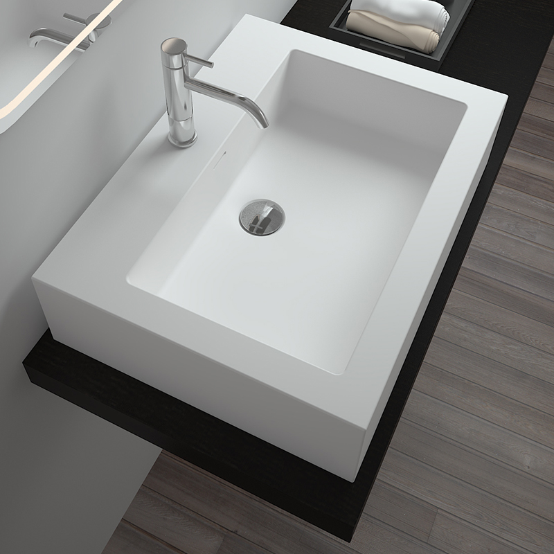 Solid surface resin stone counter top basin BS-8334