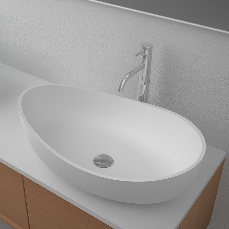 Solid surface resin stone counter top basin BS-8338