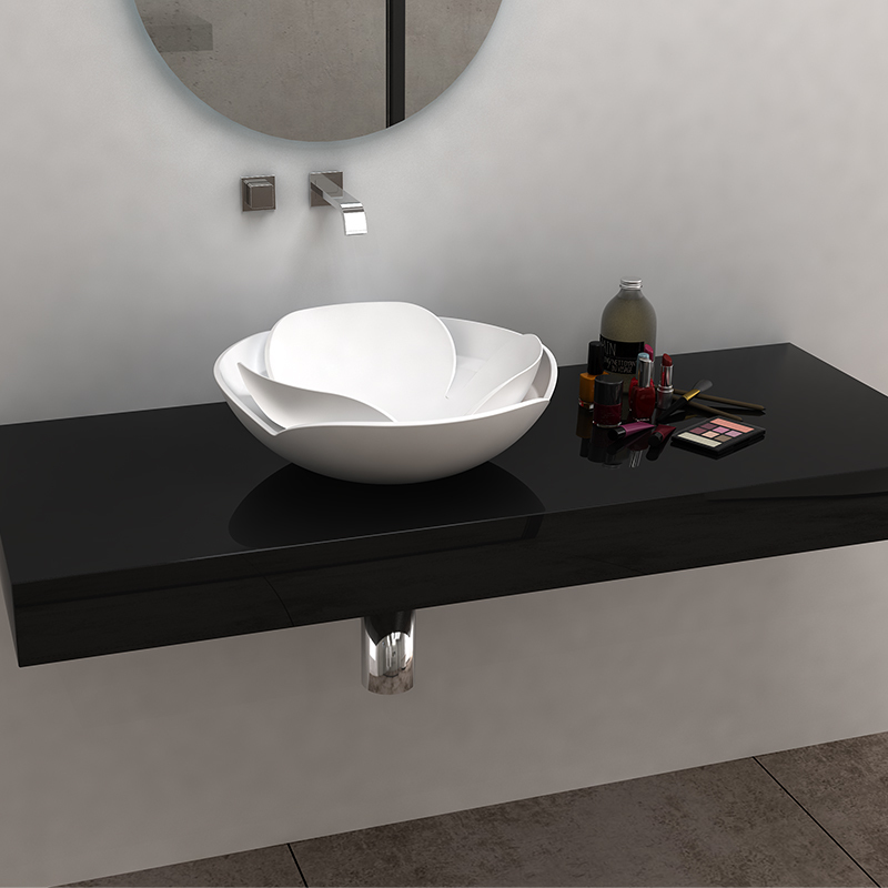 Solid surface resin stone counter top basin BS-8342
