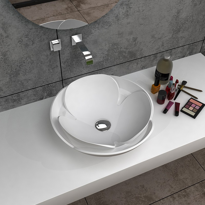 Bellissimo-Solid Surface Resin Stone Counter Top Basin Bs-8342 | Solid Surface