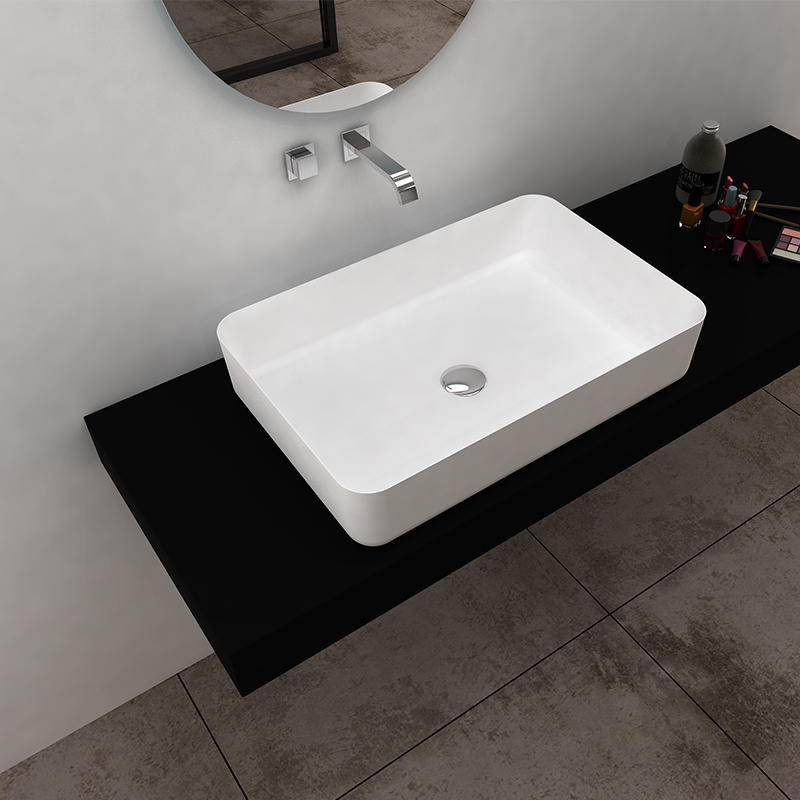 Solid surface resin stone counter top basin BS-8349
