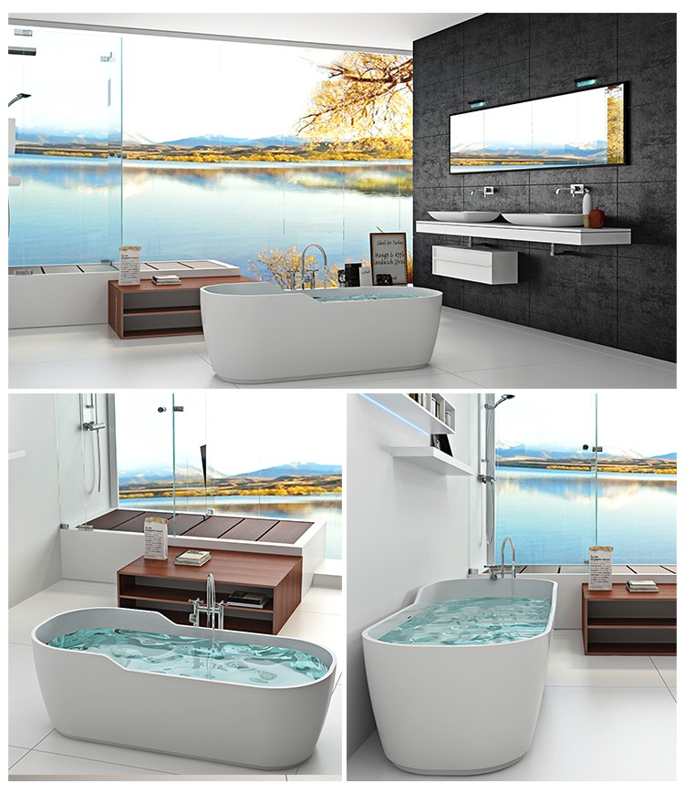 Bellissimo-Artificial marble Solid surface bathroom tub resin stone bathtub-2