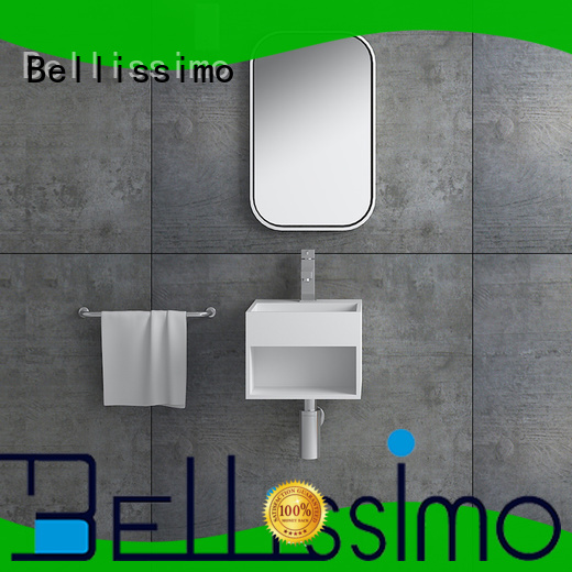Bellissimo one body shaped solid surface basin cast for villa