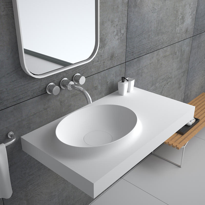 Bellissimo-High-quality Solid Surface Resin Stone Wall Mounted Basin Bs-8418 Factory