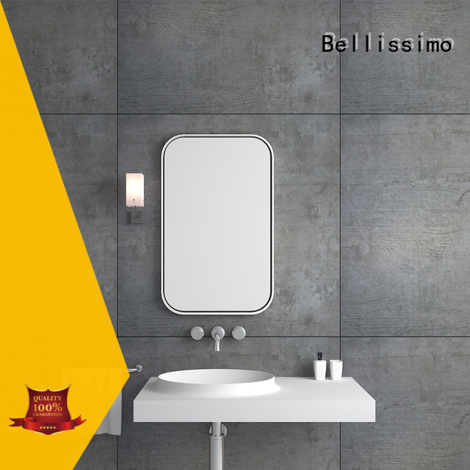 Bellissimo beard shape natural stone sink with towel shelf for home